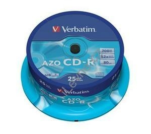 VERBATIM CD-R80 700MB/ 52x/ Crystal/ 25pack/ spindle