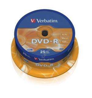 VERBATIM DVD-R 4,7GB 16x spindl 25ks