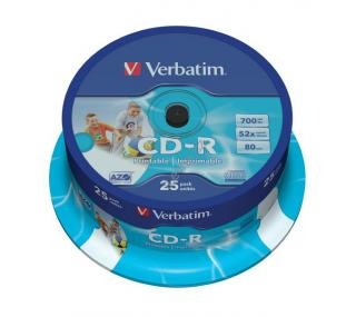 VERBATIM CD-R80 700MB/ 52x/ printable/ 25pack/ spindle