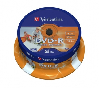 VERBATIM DVD-R 4,7GB 16x PRINT. spindl 25ks