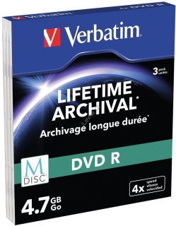 VERBATIM M-DISC DVD-R 4X 4,7GB MATT SILVER SLIM 3ks